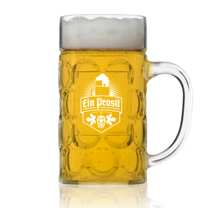 Unbreakable .5L Oktoberfest German Beer Mug with Handle (22 oz.) Classic German Stein with Dimpled Finish- Vintage Party Brew Tankard- Lightweight Styrene- Made in USA