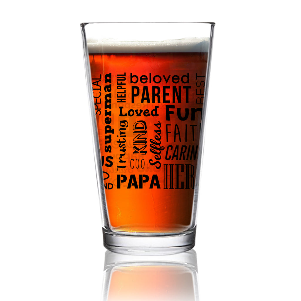 Dad Beer Glass With Inspirational Words Front Back