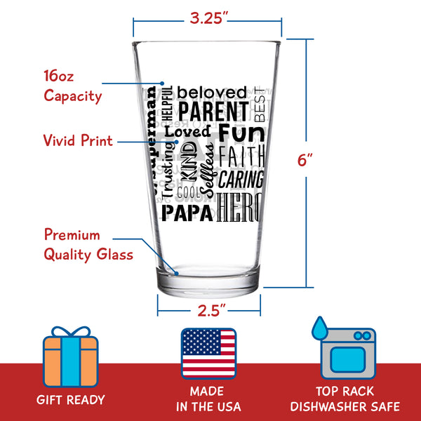 Dad Beer Glass with Inspirational Words (Front & Back) | Birthday Present for Dad | Cool Beer Glass for Dad, Step Dad, New Dad or Grandpa | Daddy Gifts From Daughter