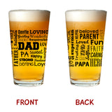Mom Wine & Dad Beer | Premium Wine & Pint Glass Set with Loving Words Printed Front & Back | Birthday Present for Mom and Dad | Anniversary Gifts & New Parents Gifts | New Mom and New Dad Gift Ready