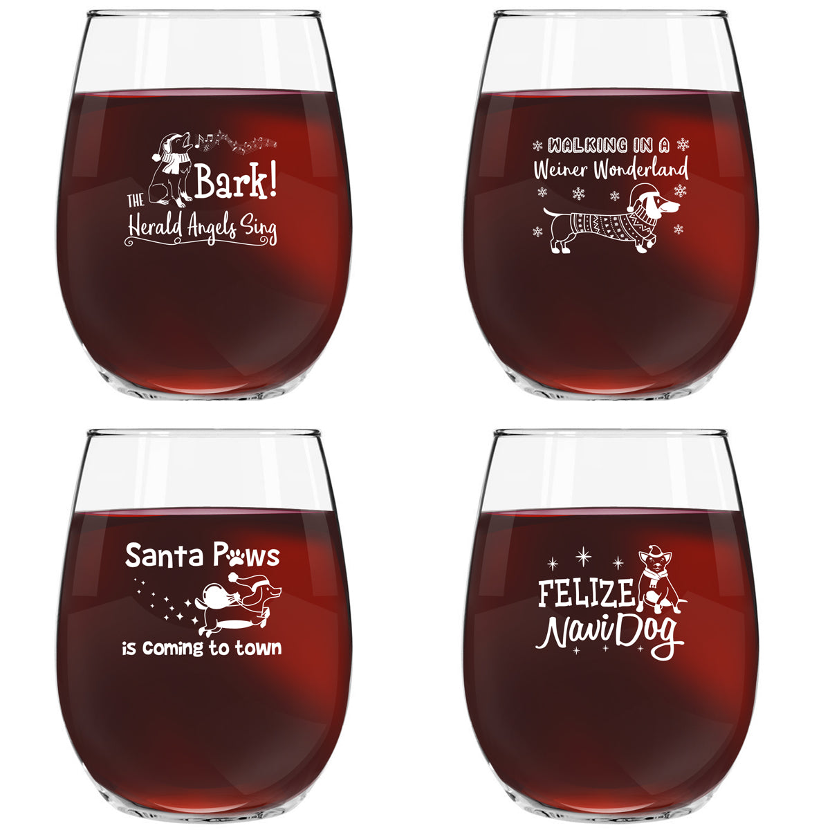 Dog Christmas Novelty Stemless Wine Glasses Set of 4 | Holiday & Santa Themed Messages for Pet Owners & Wine Lovers | 15 oz. Funny Dog Wine Glass with Cute Messages | Gift Exchange Idea for Xmas
