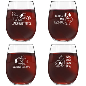 Dog Wisdom Novelty Stemless Wine Glasses Set of 4 | Funny Dog Themed Messages for Pet Owners and Wine Lovers | 15 oz. Funny Dog Wine Glass with Cute Messages| Dishwasher Safe | Made in USA