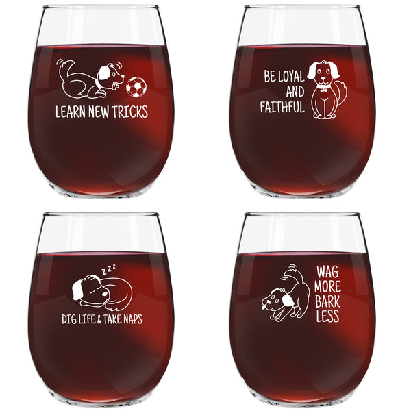 Dog Wisdom Novelty Stemless Wine Glasses Set of 4 | Funny Holiday & Santa Themed Messages for Pet Owners and Wine Lovers | 15 oz. Funny Dog Wine Glass with Cute Messages| Dishwasher Safe | Made in USA