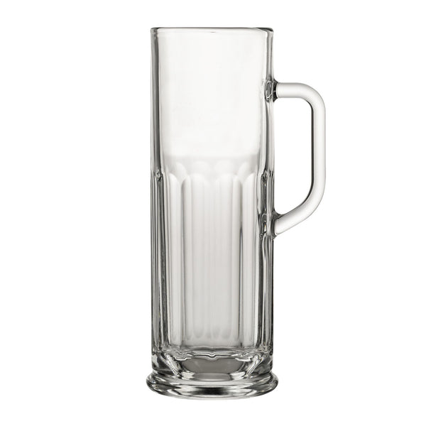 Nucleated Oktoberfest German Beer Mug with Handle (21 oz.) Elongated Stein with Attractive Paneled Design- Nucleated for Better Head Retention, Aroma and Flavor- Thick, Durable and Dishwasher Safe