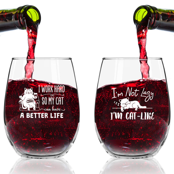 Funny Cat Stemless Wine Glasses Set of 4 | Hilarious Cat Gift Idea for Women, Pet Owners and Wine Lovers | 15 oz. Funny Cat Wine Glass with Cute Messages | Dishwasher Safe | Made in USA