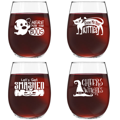 Funny Halloween Wine Glass Set of 4 | Halloween Glasses with Cute Sayings on Each Glass | 15 oz. Novelty Stemless Wine Glasses for Your Halloween Party | Here for the Boos, Show Me Your Kitties, Let's