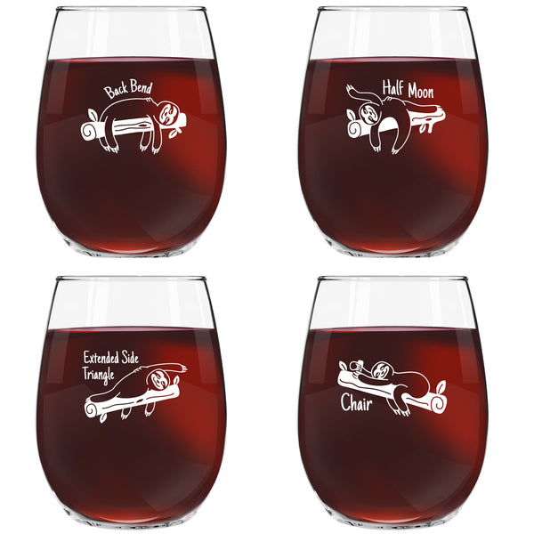 Sloth Yoga Stemless Wine Glasses (Set of 4)- Funny Novelty Wine Glassware for Women- Party, Event, Hosting Fun- Hilarious Images, Real Poses- Cute Gift