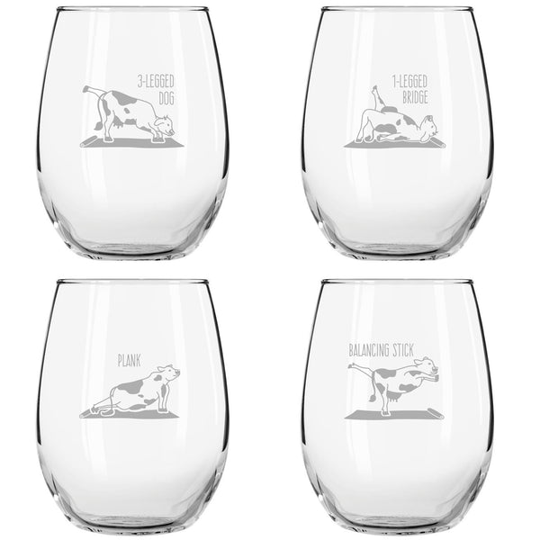Cow Yoga Stemless Wine Glasses (Set of 4)- Funny Novelty Wine Glassware for Women- Party, Event, Hosting Fun- Hilarious Images, Real Poses- Cute Gift