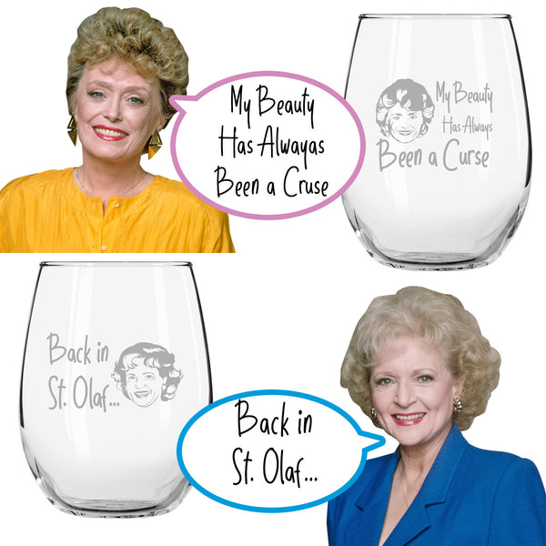 Golden Girls Inspired Stemless Wine Glass Set of 4 (15 oz)- Funny Novelty Glasses for Party, Event, Girls Night- Unique Birthday Gift For Mom, Women Best Friend- Fun Drinking for Bachelorette Parties