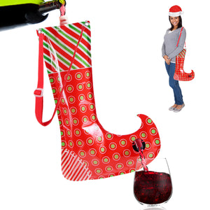 Christmas Stocking Flask Wine Dispenser- Large Party Sock w/Shoulder Strap (Holds 3