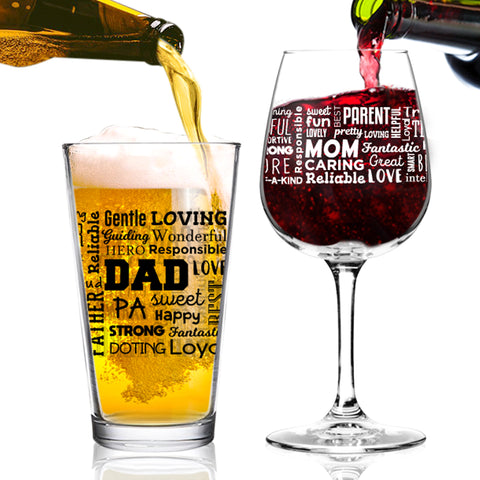 Mom Wine & Dad Beer Premium Wine & Pint Glass Set with Loving Words Printed Front & Back