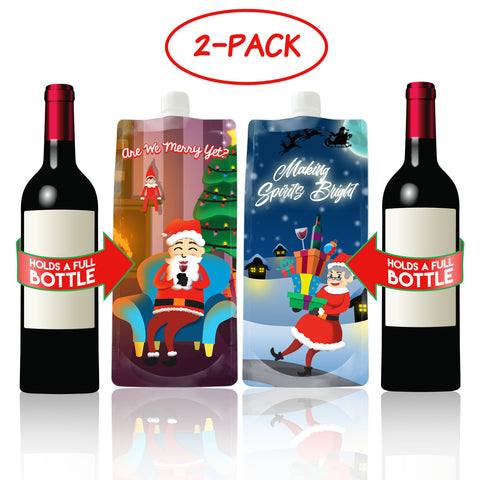 Mr and Mrs Santa Wine to Go Plastic Foldable, Portable Bottle Flasks (2-Pack)- Funny, Novelty Christmas Party Drink Carriers – Naughty Holiday Gag Gifts and Accessories (750 ml ea.)
