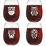 Funny Stemless Wine Glasses Set | The Owl Series Pack Set of 4 15 Ounce Glasses | Novelty Wine Glasses with Cute Sayings on Each Glass | Quality Made in USA