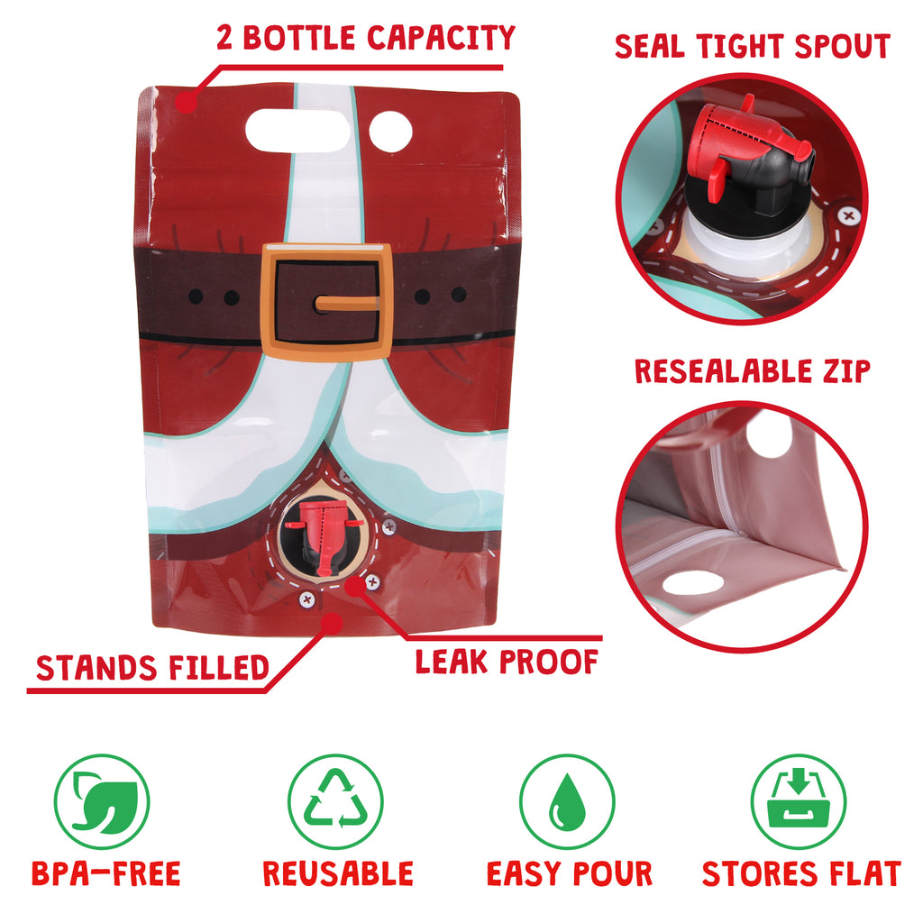 ... Santa Pants Wine Flask- Holds 2 Bottles- Funny White Elephant Gifts Under 25 Dollars ...