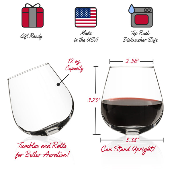 Rocking Stemless Wine Glass (Set of 4)- Rolling Tumbler for Drink Aeration- Cocktail Party & Event Hosting Glasses- Sits Upright or Spill Proof Tilt