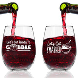 Funny Thanksgiving Wine Glass Set of 4- Friendsgiving Wine Glasses- 15 oz Stemless Wine Glasses for Friendsgiving Party-Let's Get Baked, Let's Get Basted, Let's Get Smashed, Let's Get Ready to Gobble