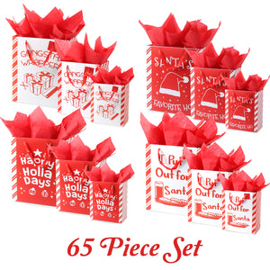 Funny Puns 65 Piece Christmas Gift Bag Set with Tissue Paper and Gift Tags- Small, Medium, and Large Assorted Sizes- Reusable Present Gifting- Holiday Xmas Gift Bag Packaging