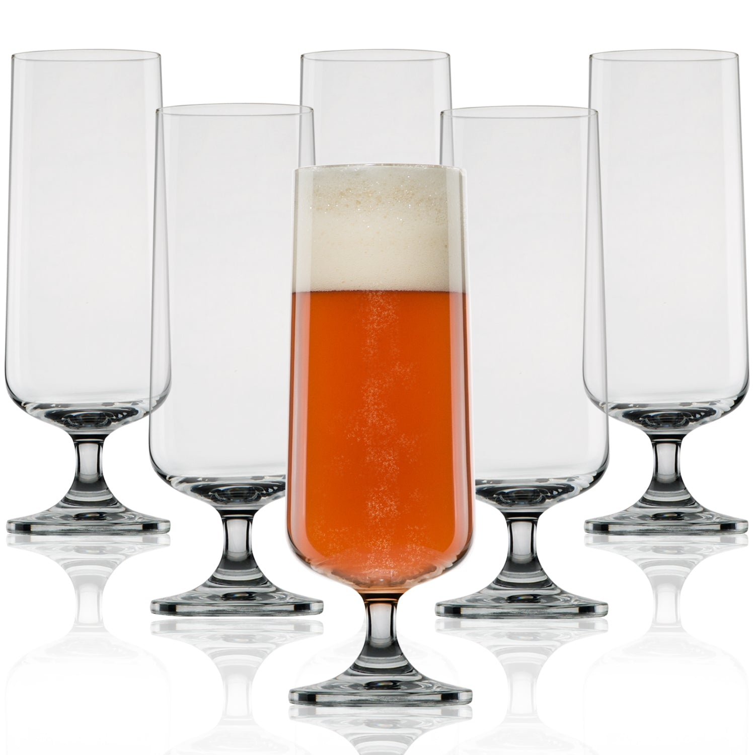 Perfectly Shaped Pilsner Glass - Nucleated Beer Glasses for Better Head Retention, Aroma and Flavor - 18 oz Craft Beer Glass for Beer Drinking Enhancement- Gift Idea for Men - 6 Pack