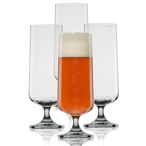 Craft Beer Glasses-Pilsner Glasses-Nucleated for Better Head Retention, Aroma and Flavor (4 Pack)-Handsomely Designed, Crystal 18 oz Craft Beer Glass for Beer Drinking Enhancement-Gift Idea for Men