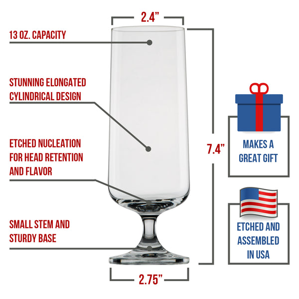 Perfectly Shaped Pilsner Glass - Nucleated Beer Glasses for Better Head Retention, Aroma and Flavor - 18 oz Craft Beer Glass for Beer Drinking Enhancement- Gift Idea for Men