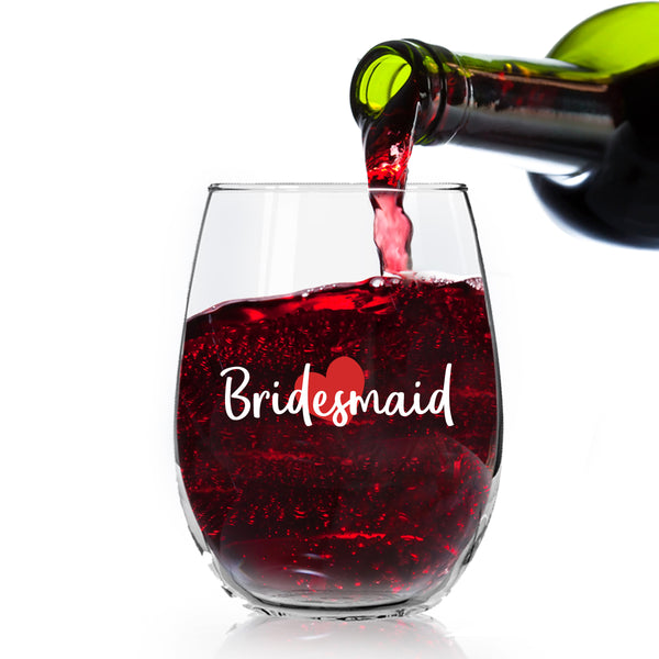 Bridesmaid Wine Glass | Stemless Wine Glasses for Bride Tribe, I Do Crew, Bachelorette Party, Bridal Party | 15 Ounce Glasses | Made in USA
