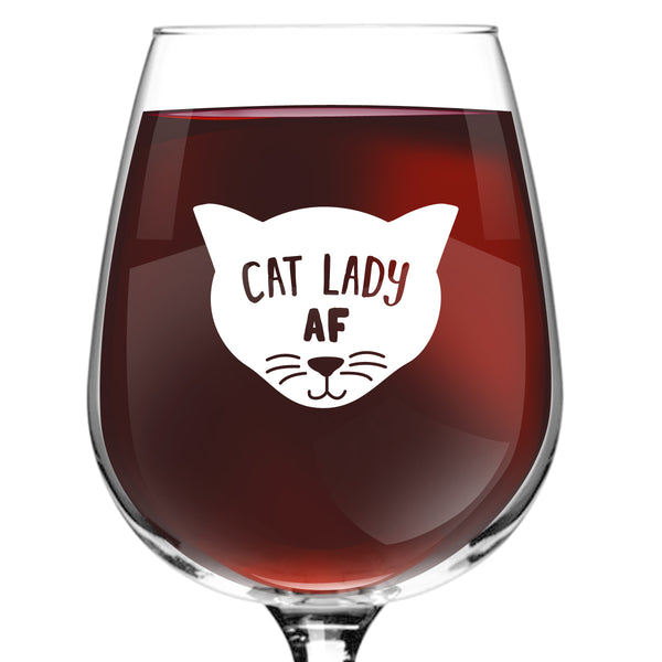 Cat Lady AF Novelty Wine Glass | Funny Cat Lover Message for Pet Owners and Wine Lovers | Cute Cat Mom AF Wine Glass | Dishwasher Safe | Made in USA
