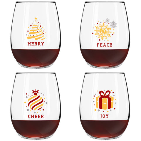 Christmas Stemless Wine Glasses (4-Piece Set)- Colorful, Cheerful Holiday Party Cups- Elegant, Trendy Fun - Red, Silver and Gold Décor feat- Merry, Peace, Cheer, and Joy