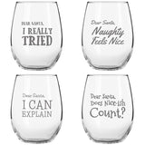 Dear Santa Funny Christmas Stemless Wine Glass (Set of 4) - 15 oz - Naughty, Cheerful Holiday Party Cups- Gift Exchange Idea to Celebrate Xmas