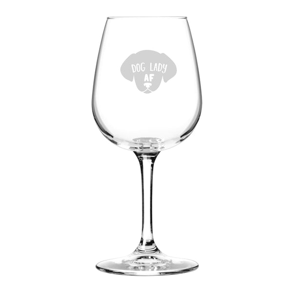 Dog Lady AF Novelty Wine Glass | Funny Dog Lover Message for Pet Owners and Wine Lovers | Cute Dog Mom AF Wine Glass | Dishwasher Safe | Made in USA
