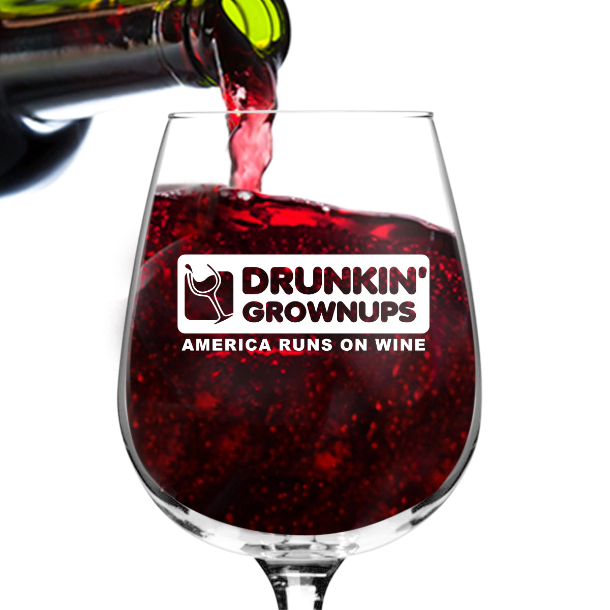 Drunkin' Grownups Funny Wine Glass Gifts for Women- Premium Birthday Gift for Her, Mom, Best Friend- Unique Present Idea