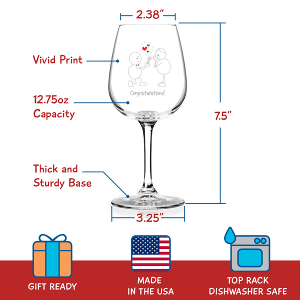 Congratulations! Engagement Wine Glass - 12.75 oz. - Made in USA