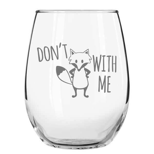 Fox Series Funny Stemless Wine Glass Set of 4 - 15oz - Made in US