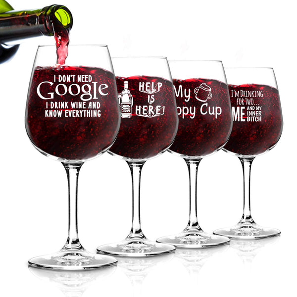 Funny Wine Glasses Set of 4 (12.75 oz)- Funny Novelty Wine Glassware Gift for Women- Party, Event, Hosting Fun- Wine Lover Wine Glass with Funny Sayings