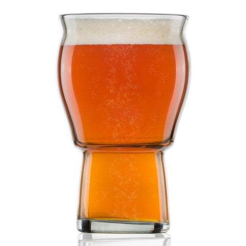 A Beer Glass for Beer Drinkers - Nucleated Pint Glasses for Better Head Retention, Aroma and Flavor - 16 oz Craft Beer Glass for Beer Drinking Bliss - Gift Idea for Men