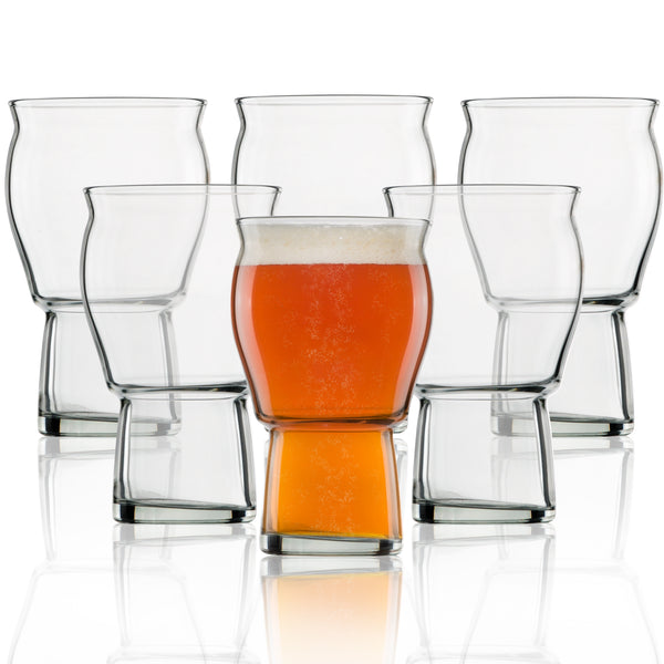 A Beer Glass for Beer Drinkers - Nucleated Pint Glasses for Better Head Retention, Aroma and Flavor - 16 oz Craft Beer Glass for Beer Drinking Bliss - Gift Idea for Men - 6 Pack