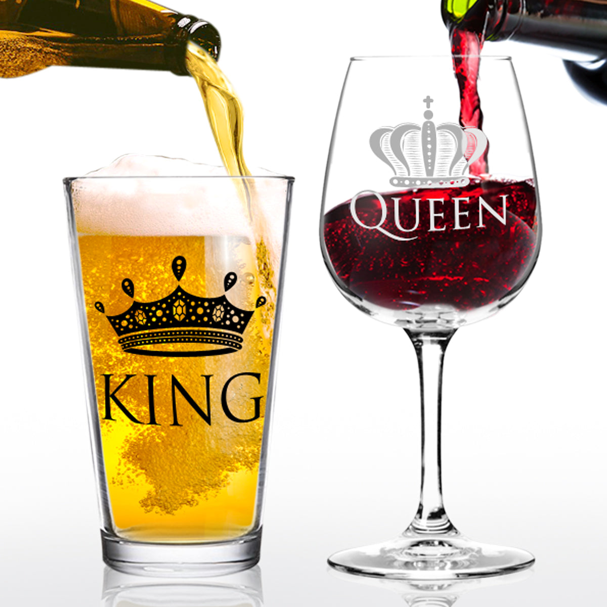 King Beer and Queen Wine Glass- 16 oz. Pint Glass - 12.75 oz. Wine Glass - Made in USA