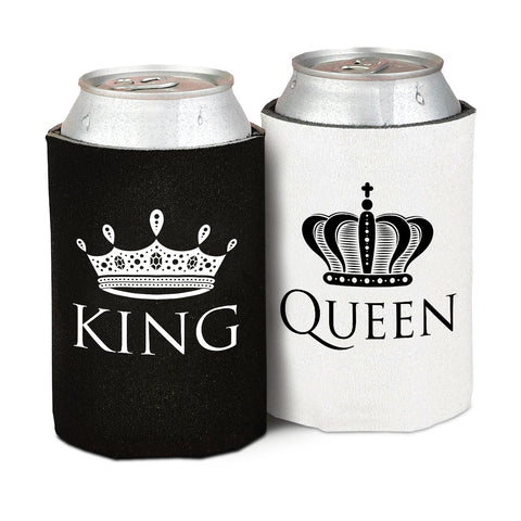 King and Queen Can Cooler - Front and Back Print- Wedding, Anniversary, Newlywed, Bridal shower, Bachelorette Novelty Gift Set - Pack of 2- Gift for Mom, Women, Friends or Her