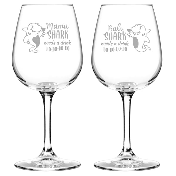 Mama & Baby Shark Needs A Drink Do Do Do Funny Wine Glass Set (12.75 oz) | Cute Wine Glasses for Mother Daughter Matching Gifts Idea | Great for Birthday, Mother's Day Gift for Mom From Daughter
