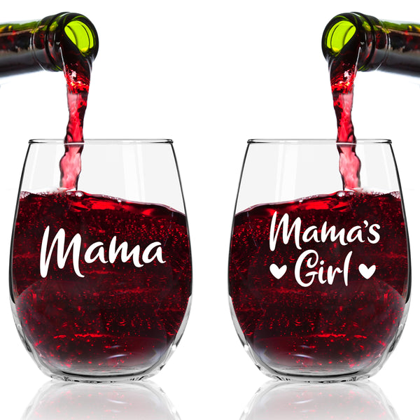 Mama Mamas Girl Wine Glasses (Set of 2) | Cute Wine Glasses Set for Mother Daughter Matching Gifts Idea | Great for Birthday, Mother's Day Gift for Mom From Daughter