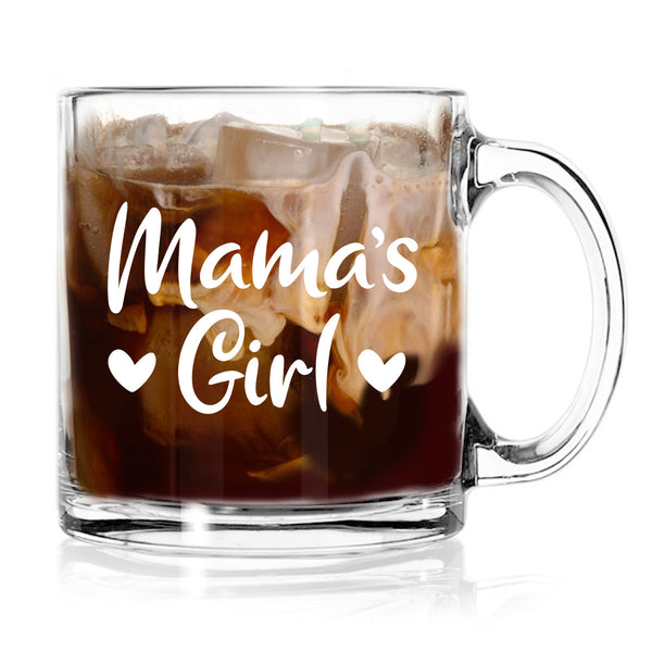 Mama Mamas Girl Coffee Mugs (Set of 2) | Cute coffee Glasses Set for Mother Daughter Matching Gifts Idea | Great for Birthday, Mother's Day Gift for Mom From Daughter