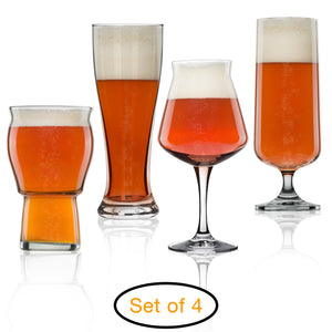 Set of 4 Nucleated Beer Glasses for Better Head Retention, Aroma and Flavor - 4 Unique Craft Beer Glass for Beer Drinking Enhancement - Beer Glass Gift Idea for Men