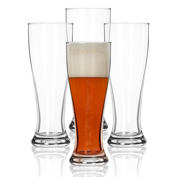 Nucleated Pilsner Beer Glasses for Better Head Retention, Aroma and Flavor - 16 oz Craft Beer Glass for Beer Drinking Bliss - Gift Idea for Men - 4 Pack