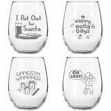 Christmas Puns Funny Stemless Wine Glasses (Set of 4) - 15 oz - Cheerful Holiday Party Cups- Hilarious Gift Exchange Idea for the Christmas Holiday Season