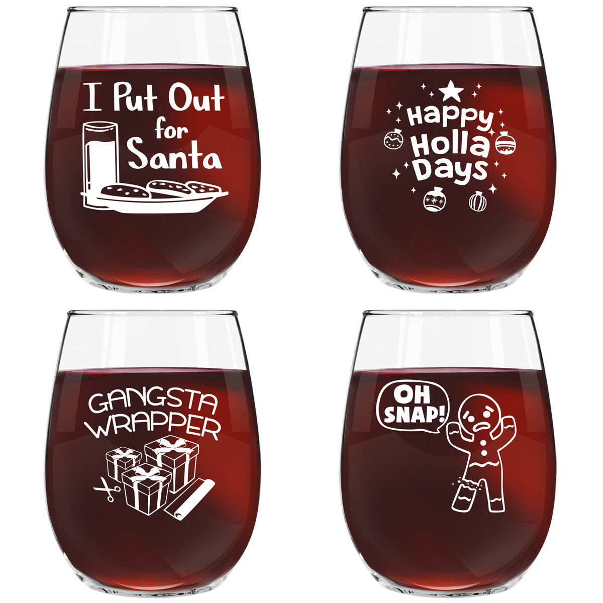 Christmas Puns Funny Stemless Wine Glasses (Set of 4) - 15 oz - Cheerful Holiday Party Cups-Hilarious Gift Exchange Idea for the Christmas Holiday Season