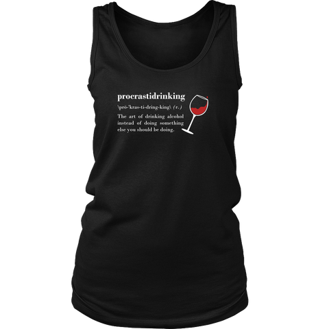 Procrastidrinking - Cute Funny Wine Shirt/Tank Top for Women