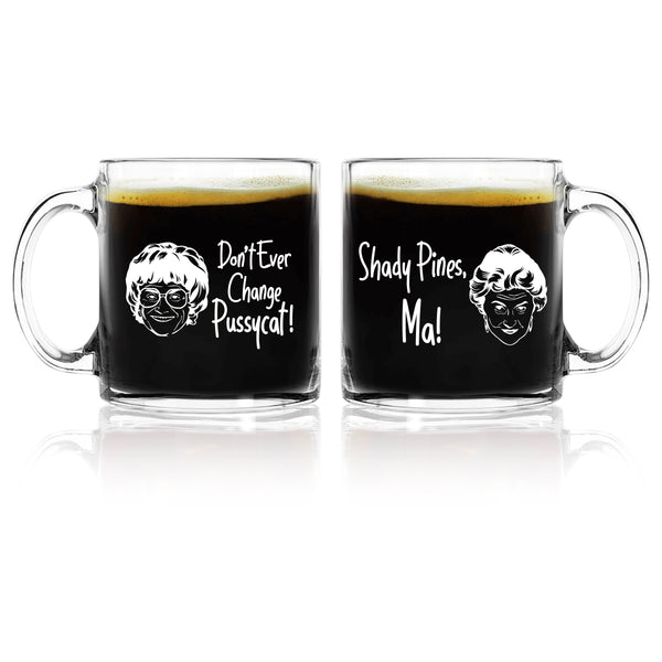 Dorothy and Sophia Golden Girls Inspired Glass Coffee Mug Set of 2 (13 oz) | Cute coffee Glasses Set for Mother Daughter Matching Gift | Great for Birthday, Mother's Day Gift for Mom From Daughter