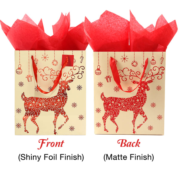 65 Piece Christmas Gift Bag Set with Tissue Paper and Gift Tags | Small, Medium, and Large Sizes of Each Design | Reusable Present Gifting | Elegant Colors | Home or Gift-Giving Use