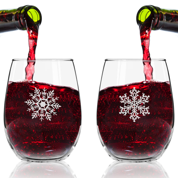 Snowflakes Stemless Wine Glass (Set of 4) - 15 oz - Cheerful Holiday Party Cups- Elegant Gift Exchange Idea for the Christmas Holiday Season