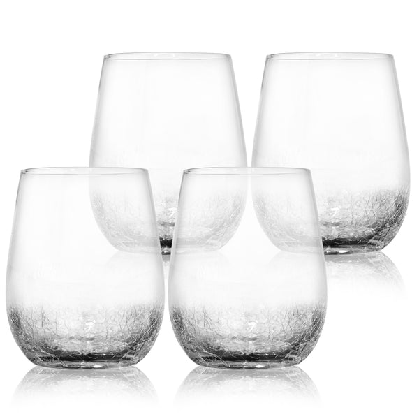 4 Pack Crackle Decorative Wine Glasses 15 oz- Elegant and Partially Crackled- Set of 4 Fancy Wine Glasses- Unique Handmade Design Sparkles Like Fractured Ice- Impressive for Red & White Wine- Vintage