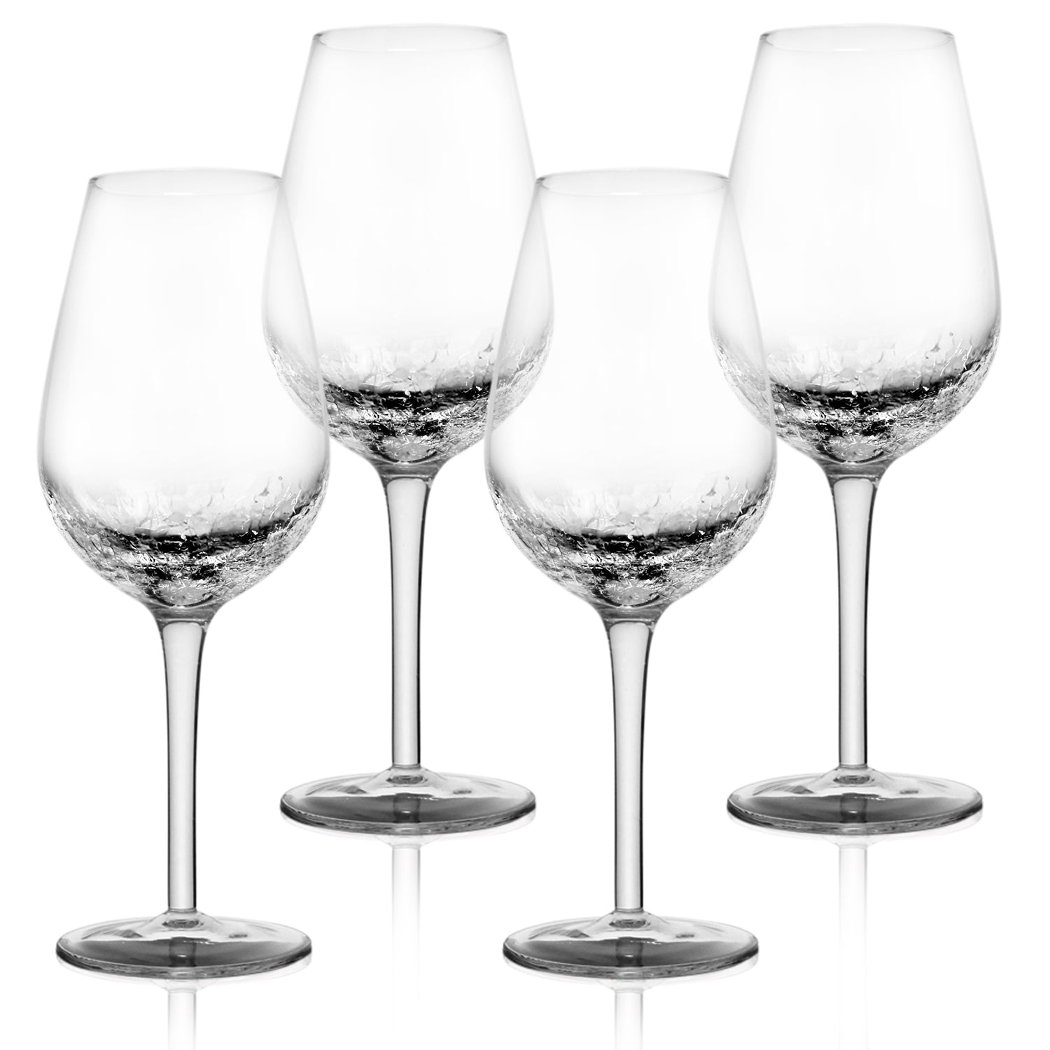4 Pack Crackle Wine Glasses 14oz- Elegant Partially Crackled Bowl- Long, Thick Stem & Stable Base- Unique Handmade Design Sparkles Like Fractured Ice- Iridescent Wine Glasses set for Red & White Wine
